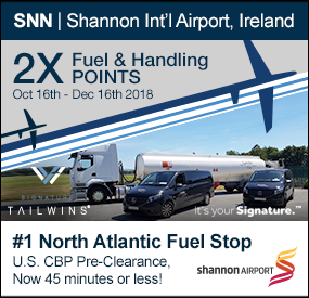 SNN Shannon Int'l Airport, Ireland. 2X Fuel and Handling Points Oct 16th - Dec 16th 2018.